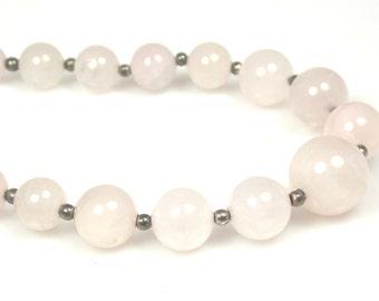 Vintage Rose Quartz Gray Bead Necklace 1970s