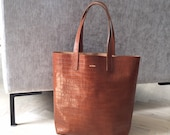 Super croco tote! Shopper bag, croco leather, Brown leather shopper tote made from best quality long lasting leather, very light tote