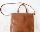 Clasy leather tote light brown bag, classic leather tote bag, crossbody tote bag, honey leather bag