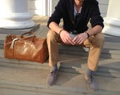 Honey / Camel Duffle bag for men or women, Weekender leather tote :)