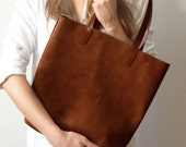 Brown leather shopper tote made from best quality long lasting leather, very light tote