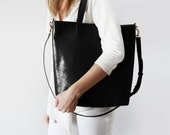 Black leather Crossbody Shopper - perfect for everyday, work, school, market! Classic leather tote with cross body strap, Leather bag