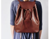 New!! Backpack Brown - Leather tote in  brown -  Leather Tote, Big bucket, Market bag, Leather tote, Medium bag, Messanger