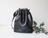 Black leather bucket bag - Lilly tote -  classic tote for classy woman !!