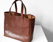Meyme Classic brown leather tote bag with press studs - Everyday Bag