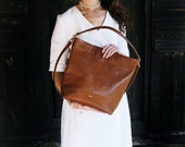 Misy Shopper tote in Brown -  Honey Leather Tote, Market bag, Leather tote, Medium bag, Messanger