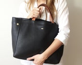 MEYME Black Leather Tote, Leather bag, black tote, everyday classic leather tote