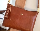 Light brown large crossbody clutch, honey leather purse
