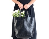 Molly Simple Shopper Black, Black Leather tote