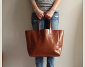 MEYME RAW - Leather Tote, Brown Leather bag, shopping bag, Everyday Bag