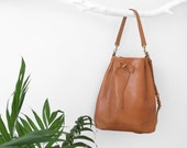 Unique Camel bucket bag - brown leather everyday bag - carry everthing with style!