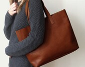 MIVO - Brown Leather Tote, Brown Leather Bag, Shopping tote