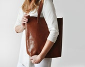 Brown leather Crossbody Shopper - perfect for everyday, work, school, market!