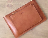 Set of 2 // Light Brown Small Clutches, Leather purses, ipad mini