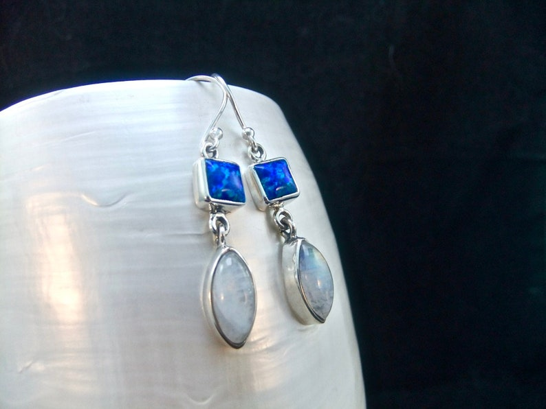 Blue Fire Opal /& Rainbow Moonstone Marquise Sterling Silver Earrings