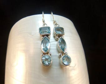 Triple Blue Topaz Sterling Silver Drop Earrings