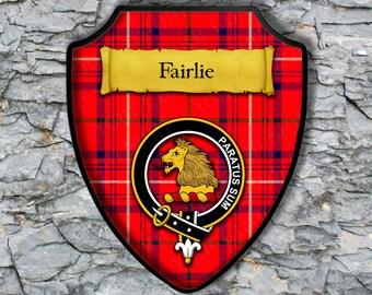 FAIRLIE Clan Crest Tartan Colors Keychain Aluminum or Plastic Square Key Chain Scottish