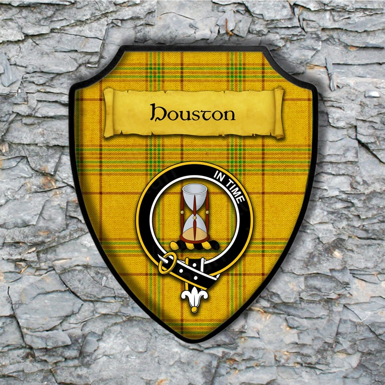 Houston Shield Plaque with Scottish Clan Coat of Arms Badge on Clan Plaid  Tartan Background Wall Art