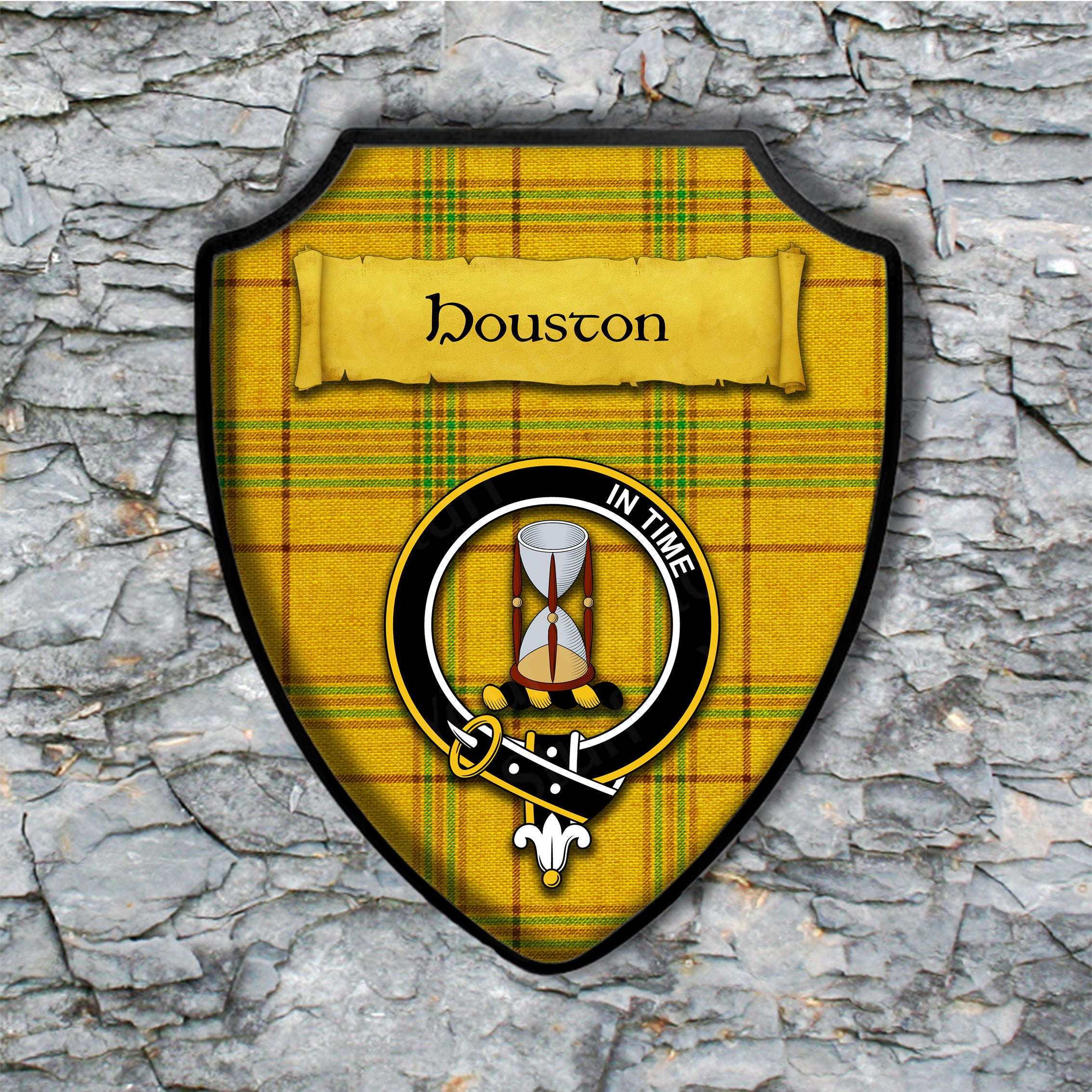 Houston Shield Plaque with Scottish Clan Coat of Arms Badge   Etsy