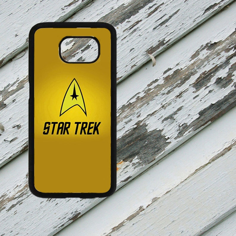 Star Trek TOS Starfleet Insignia Yellow Vertical Design on Samsung Galaxy  S6/S7/S8/S8 Plus Black Rubber Silicone Case