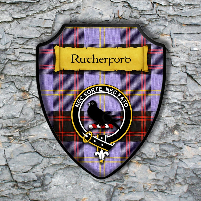 Rutherford Plaque with Scottish Clan Badge on Clan Tartan Background