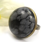 Snowflake Obsidian Art Deco Ring, Black and Gray Adjustable Big Ring, Gift for Teenager