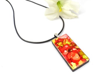 Abstract Red and Green Necklace Pendant, Hand Painted Alcohol Ink Necklace, Wearable Art Jewelry