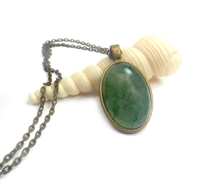 Green Dragon Vein Agate Necklace Pendant 24 Antique image 0