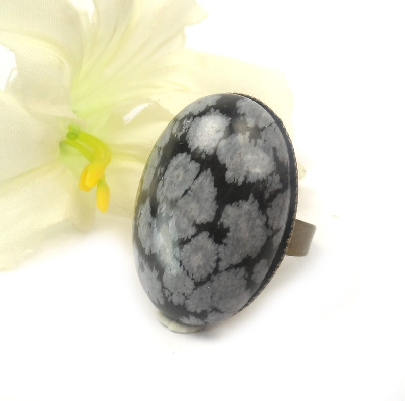 Snowflake Obsidian Adjustable Oval Cocktail Ring  Black and image 0