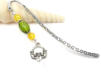 Claddagh Bookmark, Gift For Reader, Irish Gifts, Green and Yellow Bookmark BK40