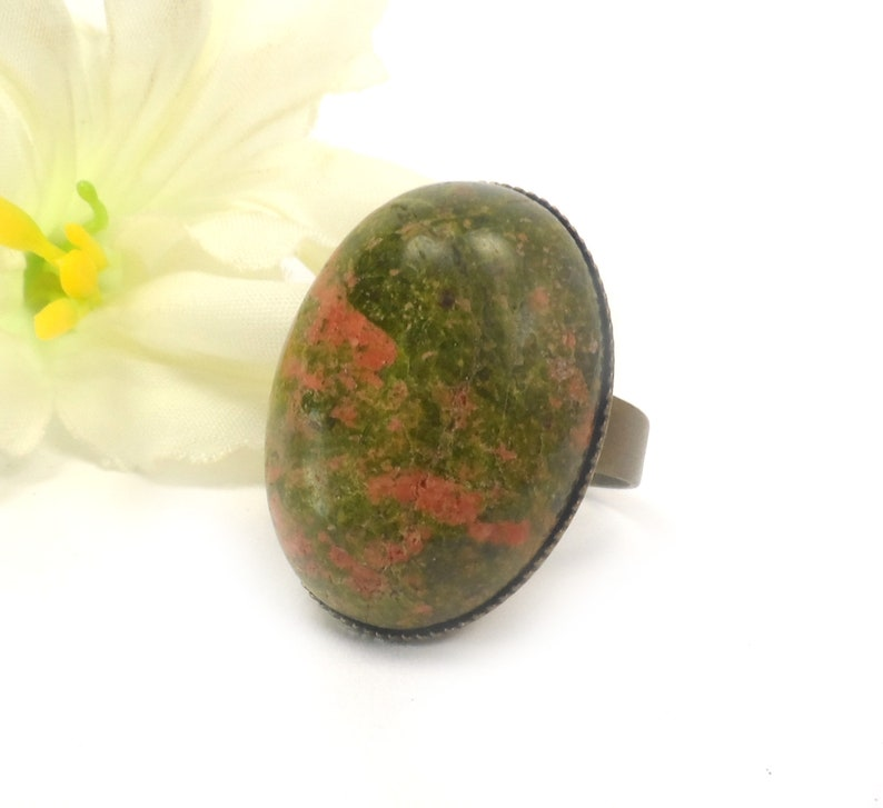 Unakite Adjustable Oval Cocktail Ring  Olive Green Unique image 0
