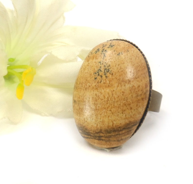 Picture Jasper Adjustable Oval Cocktail Ring  Brown Unique image 0