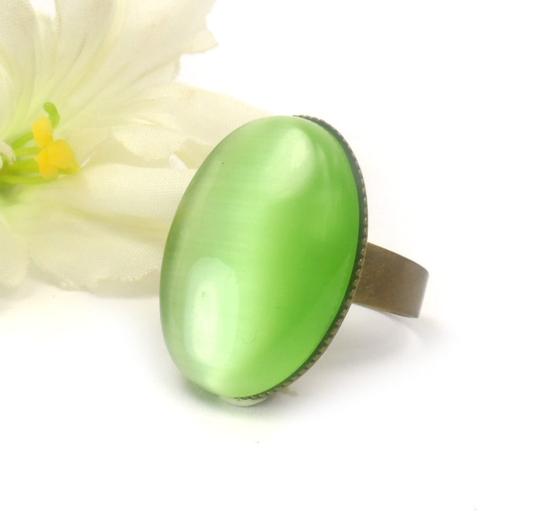 Green Cats Eye Adjustable Ring Large Oval Fashion Ring Gifts image 0