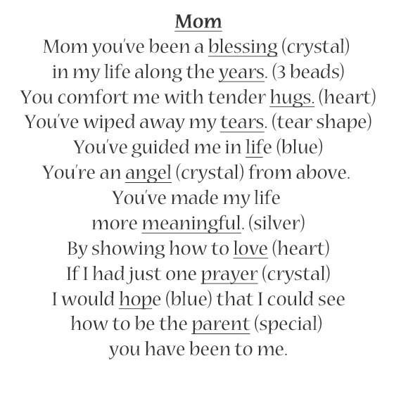 Bracelet Poème Pour Maman Idée De Cadeau De Noël Pour Mère A106