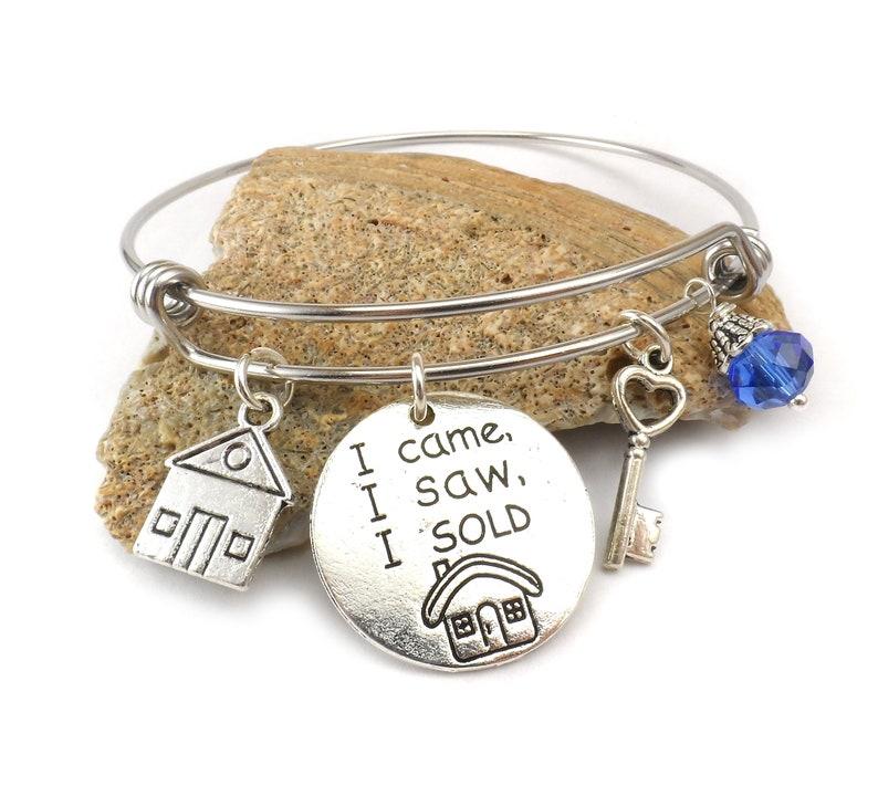 Real Estate Agent Bangle Bracelet Gift For Realtor Broker image 0