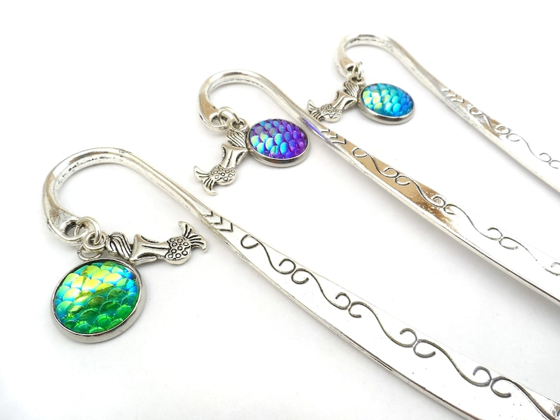 Mermaid Scale Bookmarks Book Lover Gift Nautical Bookmark image 0
