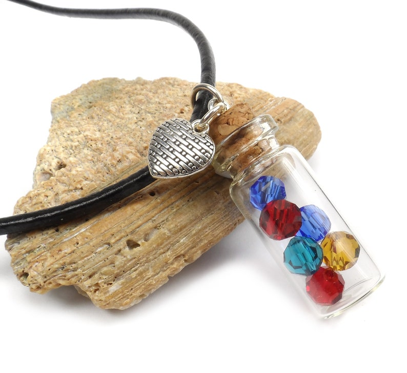 Birthstone Vial Necklace BOHO Mothers Birthstone Necklace image 0