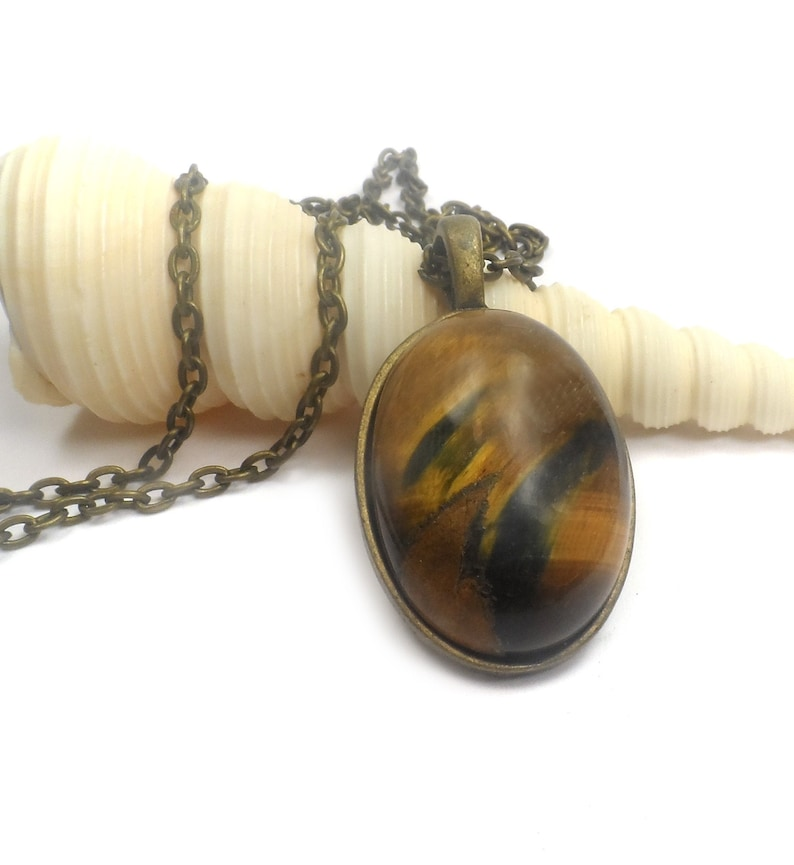 Tiger Eye Gemstone Pendant Necklace Long Black and Brown Boho image 0