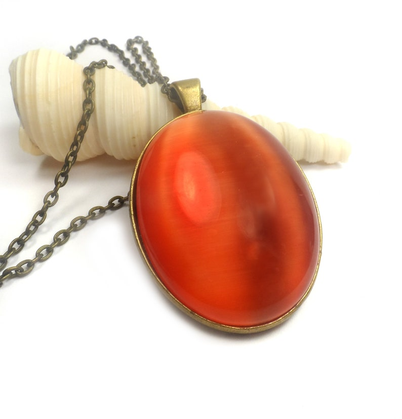 Large Red Cats Eye Pendant Necklace Antique Bronze Oval image 0