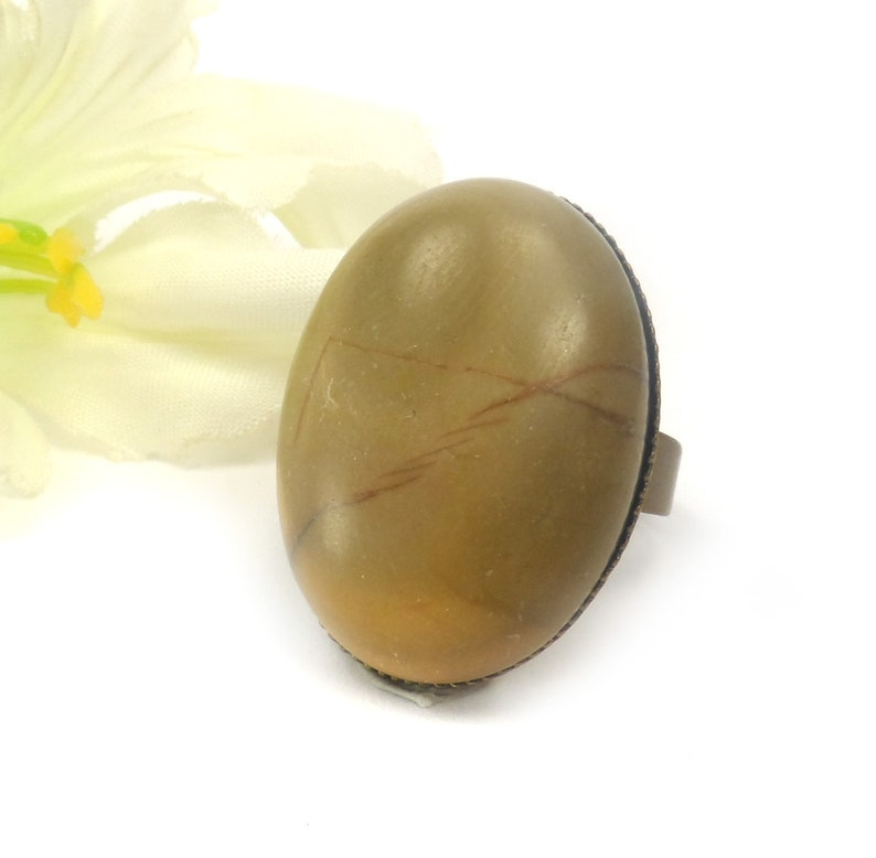 Picasso Jasper Adjustable Oval Cocktail Ring  Brown Unique image 0