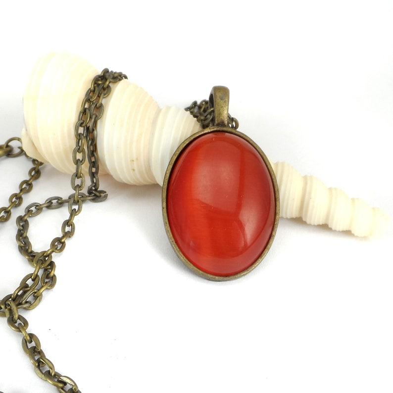 Red Orange Cats Eye Pendant Necklace 24Oval Fashion image 0