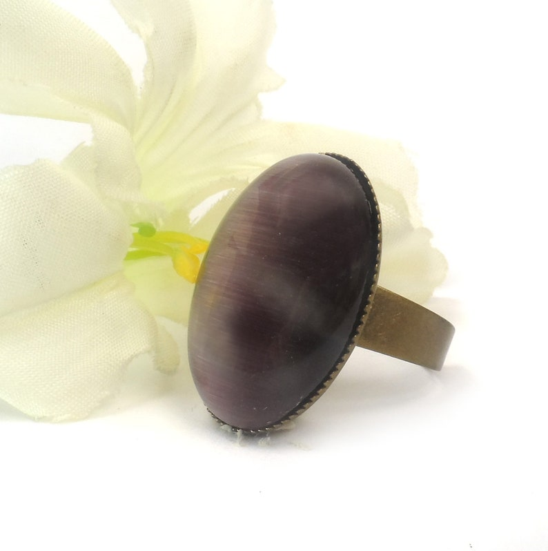 Purple Cats Eye Adjustable Ring Large Oval Fashion Ring image 0