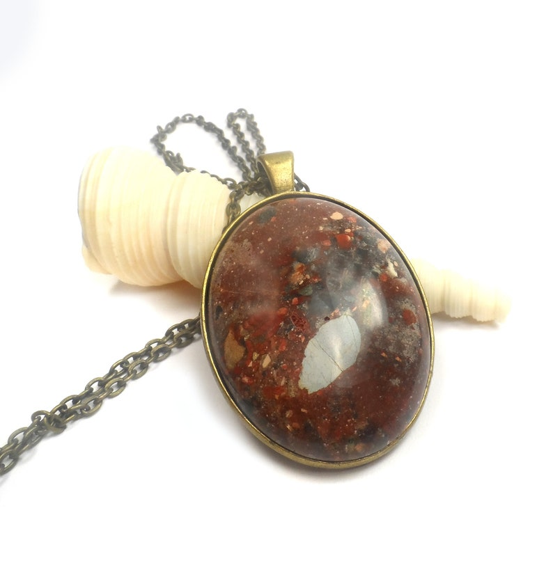 Large Brick Red Necklace Pendant Large Sea Sediment 24 image 0