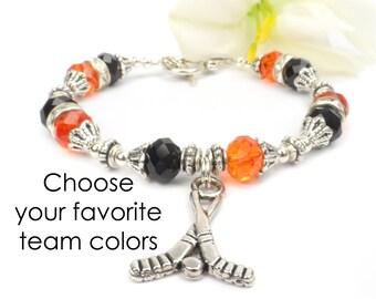 Hockey Mom Bracelet,  Hockey Fan Jewelry,  Team Spirit Colors