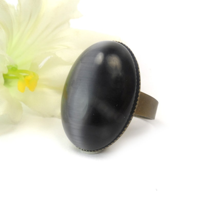 Midnight Blue Cats Eye Adjustable Ring Large Oval Fashion image 0