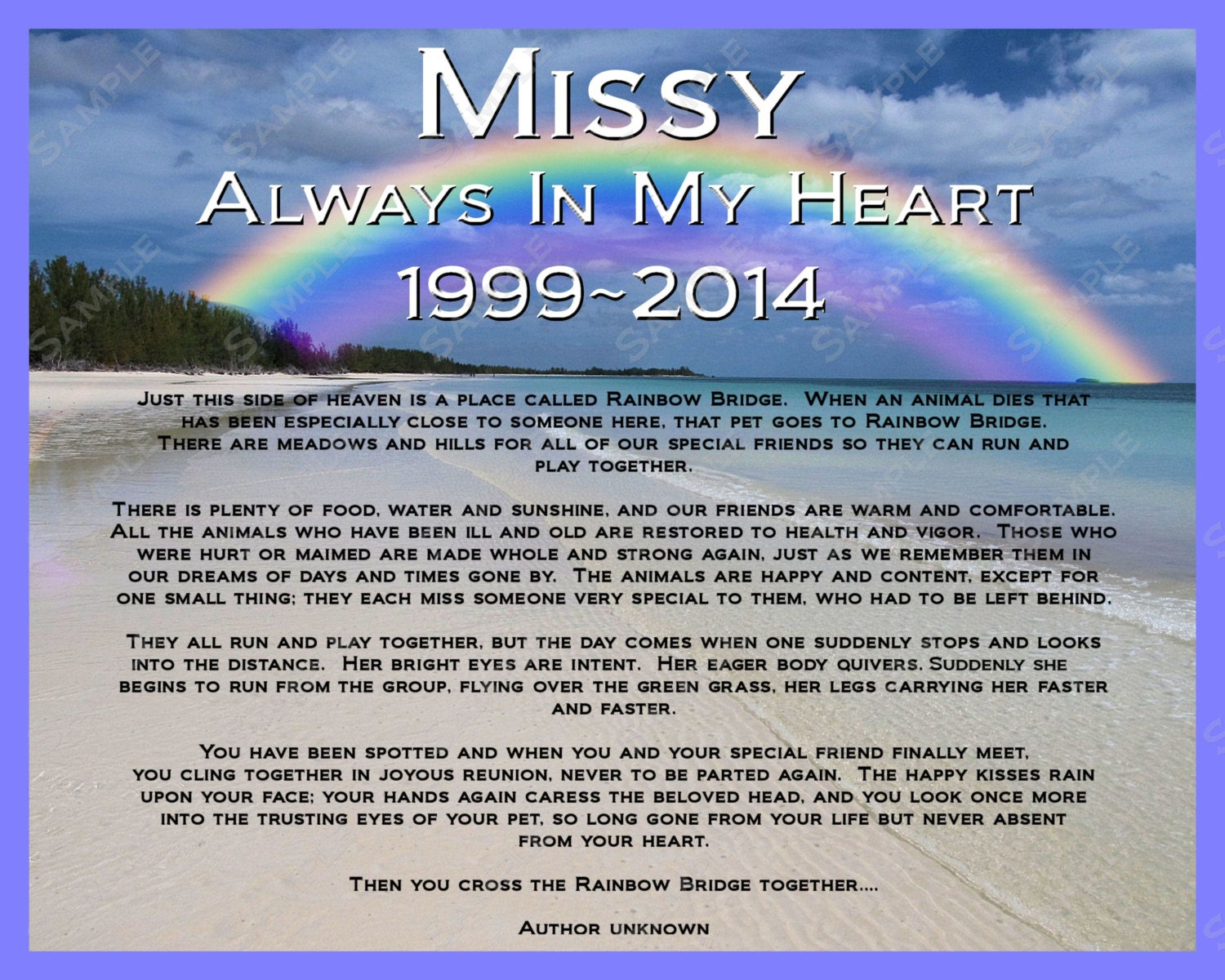 graphic relating to Rainbow Bridge Poem for Dogs Printable identify Dog Memorials 8 X 10 Print
