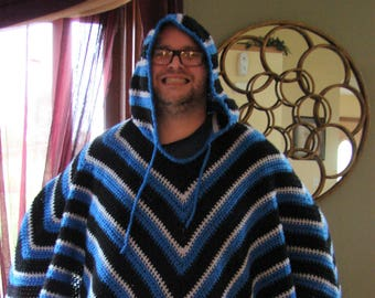 Crochet PDF Pattern For Mens or Womens Hooded Poncho One Size  *Instant Download*