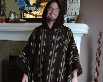 Crochet PDF Pattern For Mens or Womens Long Hooded Poncho One Size  *Instant Download*