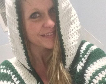 Crochet PDF Pattern For Unisex Hooded Poncho One Size  *Instant Download*