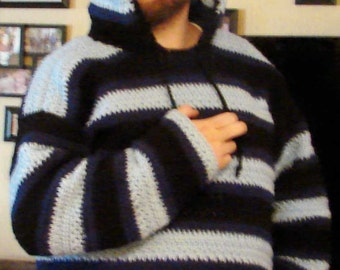 Crochet Hooded Mens Blue and Black Sweater Made to Order Sm, Med, Lg, XL, 2 XL, 3 XL